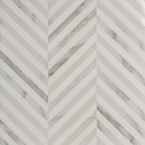 Elegant Marble Mosaic Tile In A Classic Chevron Pattern