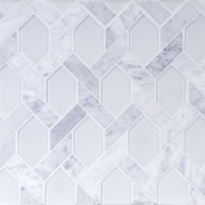 Astoria-C-Elongated Hexagon in Carrara Marble with Super White Glass