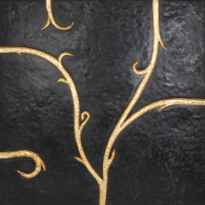 Flamboyant Marble Tile, black with gold leaf application