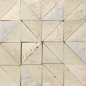 Timeworn Triangles  Marble and Porcelain Moasic in Beige