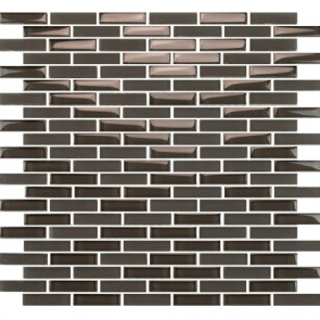 "Vetro Midnight Grey 1/2"" x 2"" Staggered Brick"