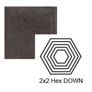 "2"" x 2 1/4"" Hexagon down Steppe in Iron Ore"