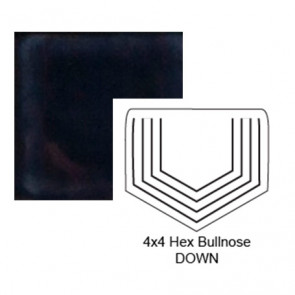 """4"""" Hexagon Down Tile Bullnose in Three A.M."""