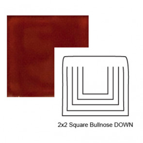 Small Square Down Tile Bullnose in Sangre de Toro