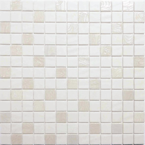 """Onix Natural Blend 1"""" x 1"""" mosaic glass and porcelain in Upsala White"""