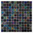 "Erin Adams Glass Mosaic,  1"" x 1"" in Malta Charcoal"