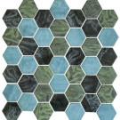 "Erin Adams Glass Mosaic 2"" Hex in Malta Fern"