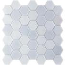 "Erin Adams Glass Mosaic 2"" Hex in Malta Ice"