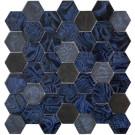 "Erin Adams Glass Mosaic 2"" Hex in Malta Lapiz"
