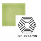 """2"""" x 2 1/4"""" Hexagon down Steppe in Endive"""