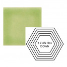 """4"""" x 4 5/8"""" Hexagon down Steppe in Endive"""