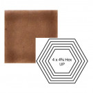 "4"" x 4 5/8"" Hexagon up Steppe in Chocolate Milk"