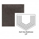"""4"""" Hexagon Up Tile Bullnose in Iron Ore"""