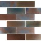 "Erin Adams Glass Mosaic, 2"" x 6"" in Limonite, subway mosaic"