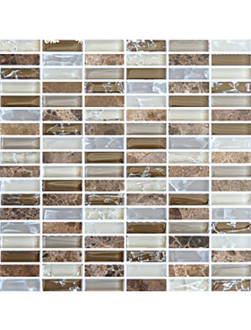 "Bliss Fall 5/8"" x 2"" straight brick mosaic"