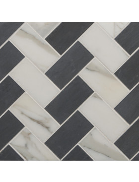 CA Stone and Mosaic Large Herringbone in Grey and White