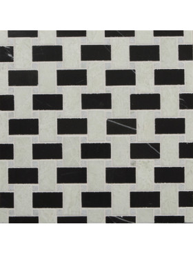 CA Stone and Mosaic Black and White Small Basketweave