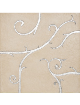 Flamboyant Limestone, beige with silver leaf