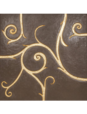 Flamboyant Marble, light brown with gold leaf