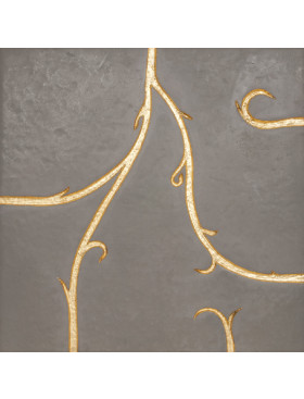 Flamboyant Marble, light grey with gold leaf