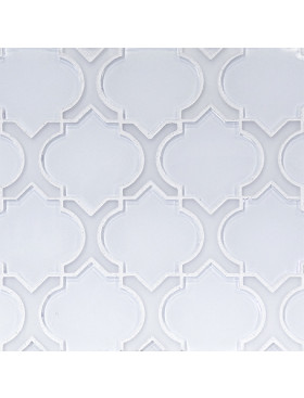 Danelli-Arabesque in Super White Glass with Frosted White Glass Border