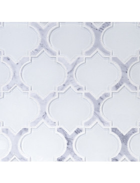 Danelli-C-Arabesque in Frosted White Glass with Carrara Marble Border