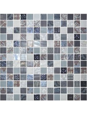 """Onix Cosmic 1"""" x 1"""" mosaic glass and porcelain in Arezzo, on 12"""" x 12"""" sheet"""