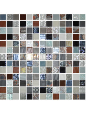 """Onix Cosmic 1"""" x 1"""" mosaic glass and porcelain in Elba, on 12"""" x 12"""" sheet"""