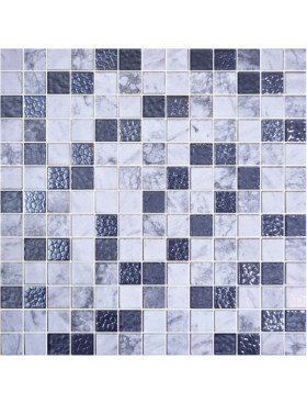 """Onix Cosmic 1"""" x 1"""" mosaic glass and porcelain in Livorno, on 12"""" x 12"""" sheet"""