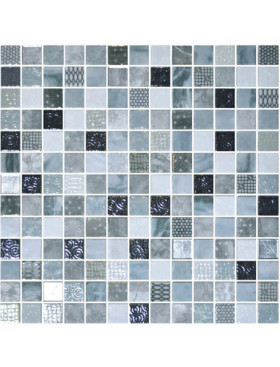 """Onix Cosmic 1"""" x 1"""" mosaic glass and porcelain in Lucca, on 12"""" x 12"""" sheet"""
