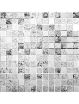 "Onix Essence Carrara Blend 1"" x 1"" mosaic glass and porcelain in Grey, on 12"" x 12"" sheet"
