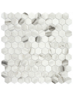 "Onix Hexagon Statuario Malla Matte on 12"" x 12"" sheet"