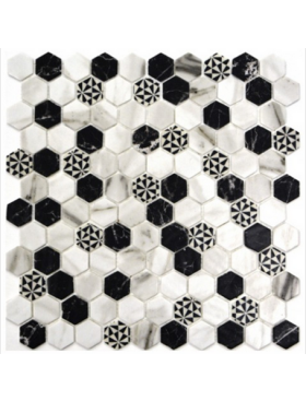 "Onix Hexagon Emma Malla on 12"" x 12"" sheet"