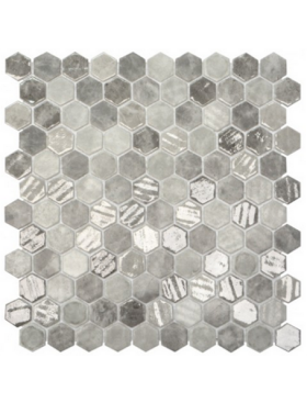 "Onix Hexagon Grey Silver Mix Malla on 12"" x 12"" sheet"