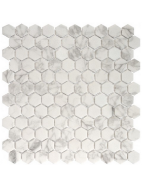 "Onix Hexagon  Calacatta Malla Matte on 12"" x 12"" sheet"