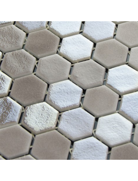 "Onix Hexagon Blend Tan Malla, on 1"" Hexagons on 12"" x 12"" sheet"