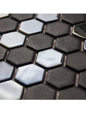 "Onix Hexagon Gun Metal, on 1"" Hexagons on 12"" x 12"" sheet"