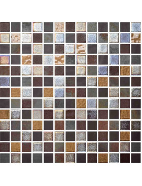 "Onix Mystic 1"" x 1"" mosaic glass and porcelain in Savina, on 12"" x 12"" sheet"
