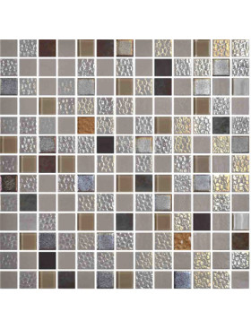 "Onix Mystic 1"" x 1"" mosaic glass and porcelain in Sinai, on 12"" x 12"" sheet"