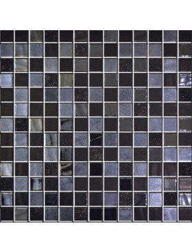 "Onix Natural Blend 1"" x 1"" mosaic glass and porcelain in Navia, on 12"" x 12"" sheet"