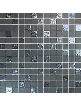 "Onix Natural Blend 1"" x 1"" mosaic glass and porcelain in Upsala Grey, on 12"" x 12"" sheet"