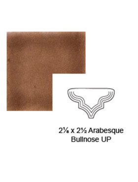 """Arabesque (small) """"Up"""" Steppe Bullnose in Chocolate Milk"""