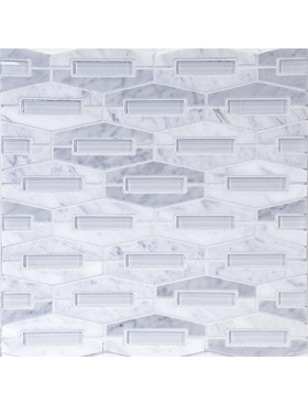 Montage-Elongated Hexagon in Carrara Marble with Super White Glass Insert