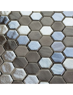 "Onix Hexagon Blend Taupe Malla, on 1"" Hexagons on 12"" x 12"" sheet"