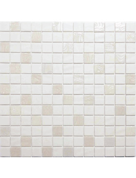 "Onix Natural Blend 1"" x 1"" mosaic glass and porcelain in Upsala White, on 12"" x 12"" sheet"
