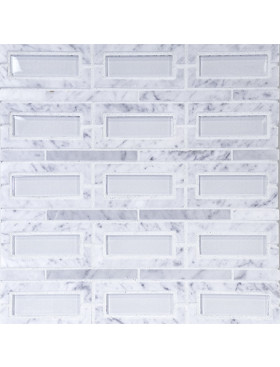 Peninsula-Rectangle Carrara Marble with Super White Glass Insert