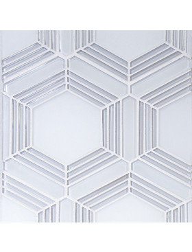 Plaza-Large Hex in Super White and Frosted Glass