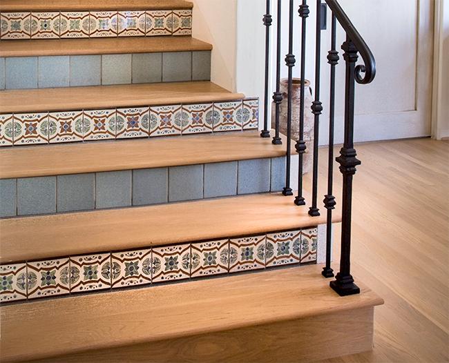 Paul Schatz Talavera Lirio Naranja and Lirio Verde stair riser