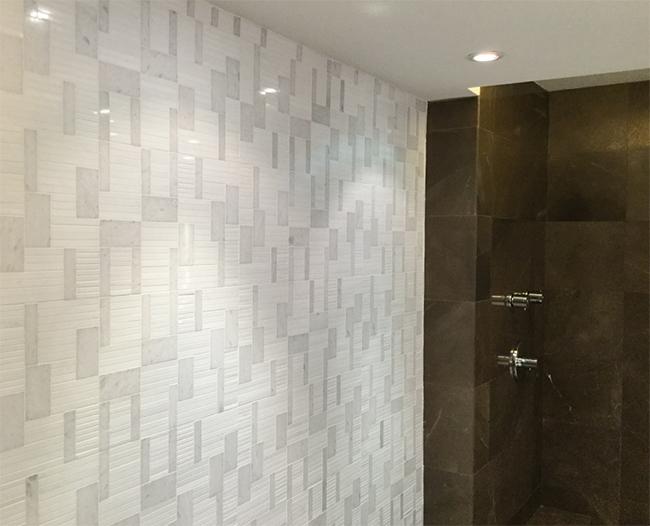 Rhythm II All that Jazz Erin Adams Marble Mosaic bathroom wall