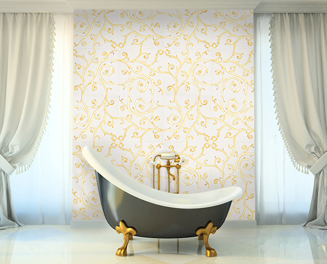 Flamboyant Collection by Giovanni Barbieri in white natural stone, gold leaf  and Swavorski crystals room scene